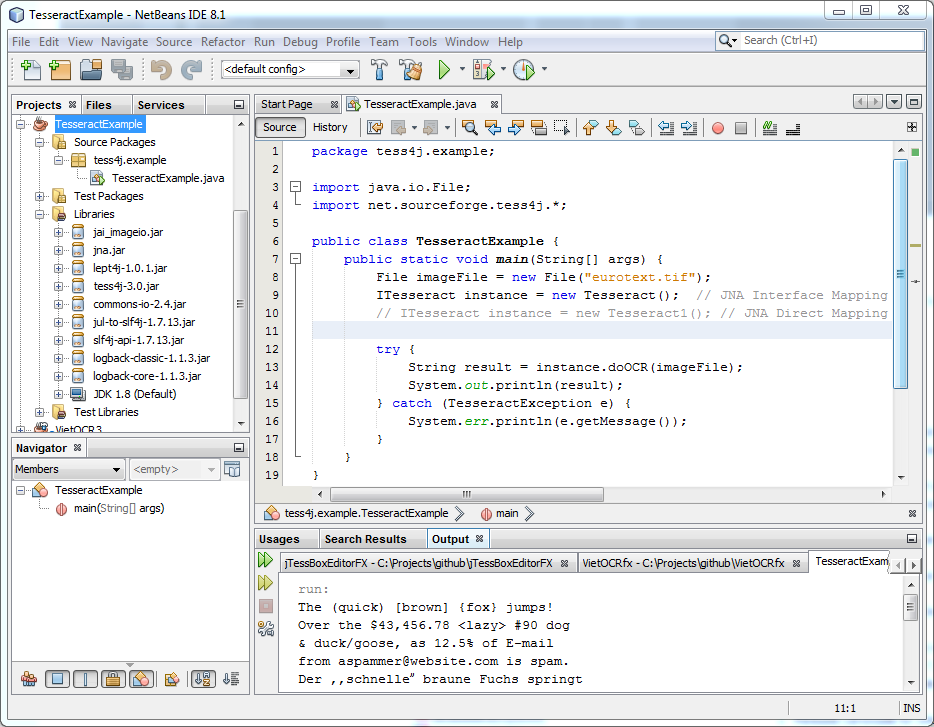 Development with Tess4J in NetBeans, Eclipse, and Command-line
